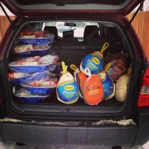 Loaded up and ready to deliver turkey dinners for our 2013 Turkey Basket Drive!